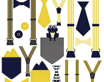 Boy Onesie Accessories Clip Art Pocket Handkerchief Suspender Tie Bow Tie Clip Art Little Gentleman Navy Yellow