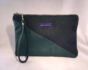 "Green ""Sadie"" Clutch Bag or Purse in Wool and Leather."
