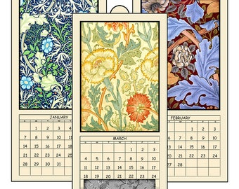 "HALF PRICE 2018 Digital Calendar Printable Downloads 4.8"" X 10""  Vintage Art Nouveau Designs 12 Different Images William Morris  2018 CAL 10"