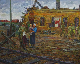 Great Patriotic War,USSR,Soviet army,socialist realism,oil painting,Eremenko P.Ya. At the liberated polustank 99-149 oil on canvas. 80g1.3