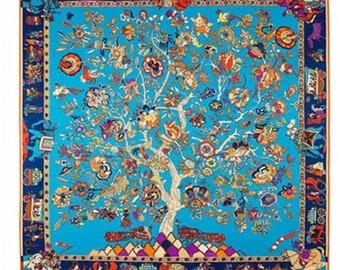 Women twill silk scarf square silk scarf 100%silk scarf 100x100cm tree silk scarf floral print silk scarf gift for mom wedding prom