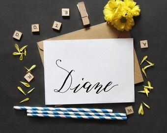 DIANE   Name Greeting Card   Typographic Printable Art   Handwritten Type   Digital Card Download   5.5 x 4.25