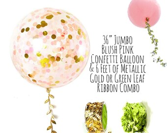 "Blush Pink and Gold Confetti Balloon with Leaf Ribbon, 36"" Large Balloon, Gold and Pink, Party Decoration, Wedding Decoration, Photo Prop"