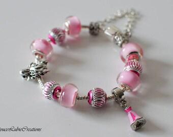 Bracelet à breloques Aurore thème « La belle au bois dormant »