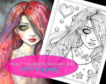 Worry - Digital Stamp - Printable - Adult Coloring Page - Molly Harrison Fantasy Art - Digistamp Coloring Page - 8.5 x 11