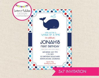 Whale Birthday Invitation, Whale Birthday, Whale Printables, Whale Birthday Decorations, First Birthday, Lauren Haddox Designs