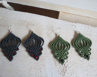 Dark gray celtic macramé earrings, boho earrings, silver 925, bohemian earrings