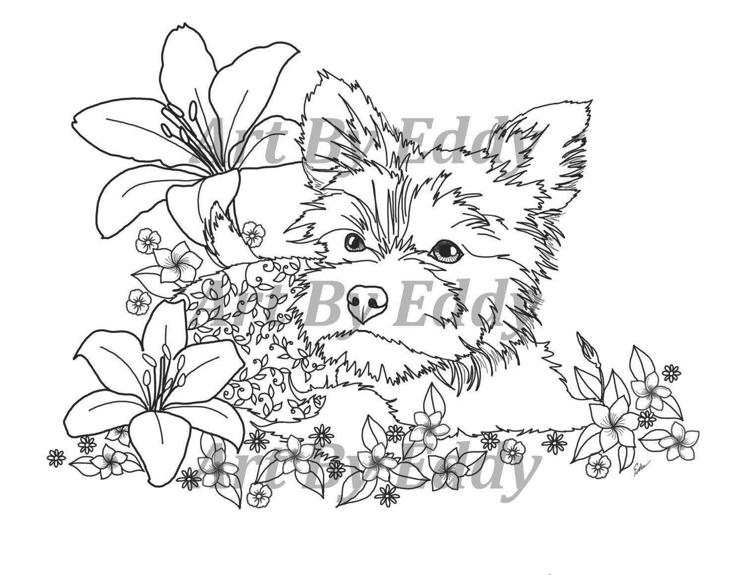 Art of Yorkie Single Coloring Page
