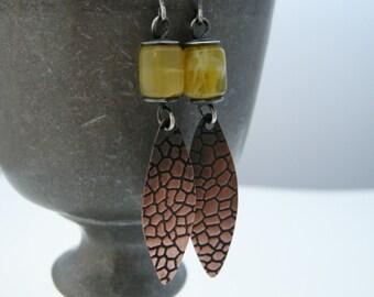 copper leaf earrings, yellow opal earrings, dangle earrings, handmade earrings, handmade jewelry