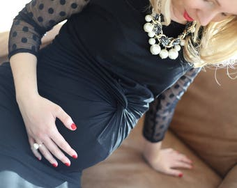 Front knot maternity dress