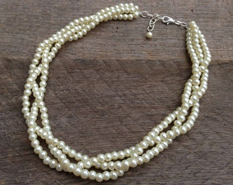 Ivory Multi Strand Necklace, Pearl Bridal Necklace, Braided Pearl Wedding Necklace on Silver or Gold Chain