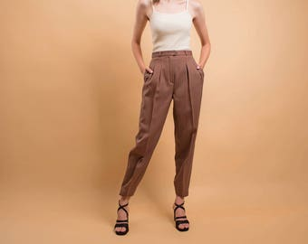 High-Waist Wool Pants / Tapered Ankle Pant / Tailored Pleated Pants / Minimalist Trousers / 80s Striped Trousers Δ size: S