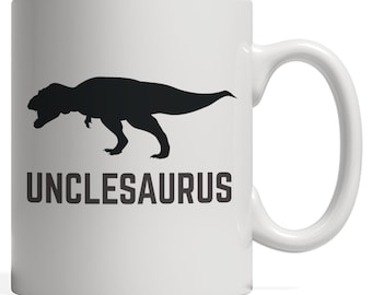 Unclesaurus Rex Funny Gift for Uncle who Loves Dinosaurs Like Tyrannosaurus-Rex on Uncle's Day of a T-Rex Dinosaur Mug