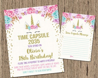 Unicorn time capsule sign, time capsule message first birthday, printable 1st birthday pink and gold time capsule, magical unicorn birthday