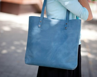 Bags purses totes leather tote blue leather tote aqua Bondi blue leather tote cerulean leather tote turquoise tote leather