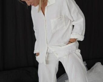 LINEN PAJAMA, sleepwear. Linen pajamas - linen pants and shirt.  Made by MOOshop.*7