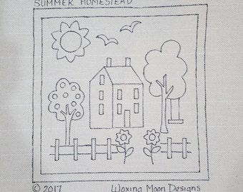"""SUMMER HOMESTEAD; Hand drawn pattern for Rug Hooking; 14"""" x 14""""; Shaker House, Sunflowers; Part of Seasonal Series"""