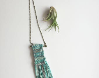 Hand Woven Necklace—Turquoise/gray/blue variegated yarn on brass bar and chain