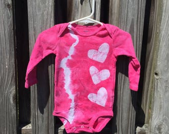 Baby Girl Gift, Baby Girl Bodysuit, Pink Baby Gift, Pink Baby Bodysuit, Tie Dye Baby Gift, Baby Shower Gift, Pink Heart Bodysuit (9 months)