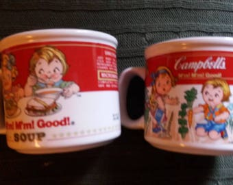 2 vintage Campbell's Soup Collectibles Cups Mugs Bowls
