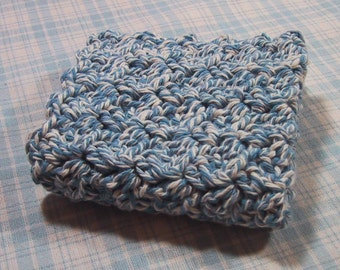 Perfect Dish Cloth - Crocheted in Cotton Yarn - Denim Twist Color - Handmade - Great for Kitchen or Bath - Country Kitchen