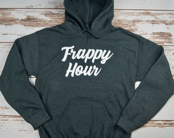 Frappy Hour, Coffee Lover, Funny Coffee Shirt, Coffee Sweatshirt, Christmas Gift, Fast Shipping, Customizable