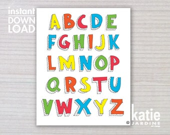 alphabet print - ABC print -  kids wall art - kids ABC - 8x10 print - instant art - printable art - freehand text - rainbow ABC