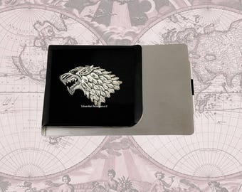 Wolf Head Large Money Clip Wallet Inlaid in Hand Painted Black Enamel Game of Thrones Inspired with Personalized and Color Options