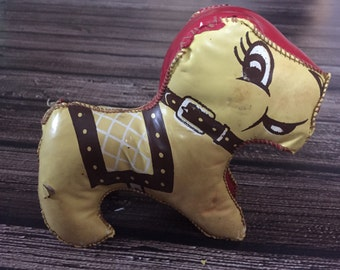Vintage 1950s Leather Plush Horse Mod / Retro / Hipster Carnival Toy