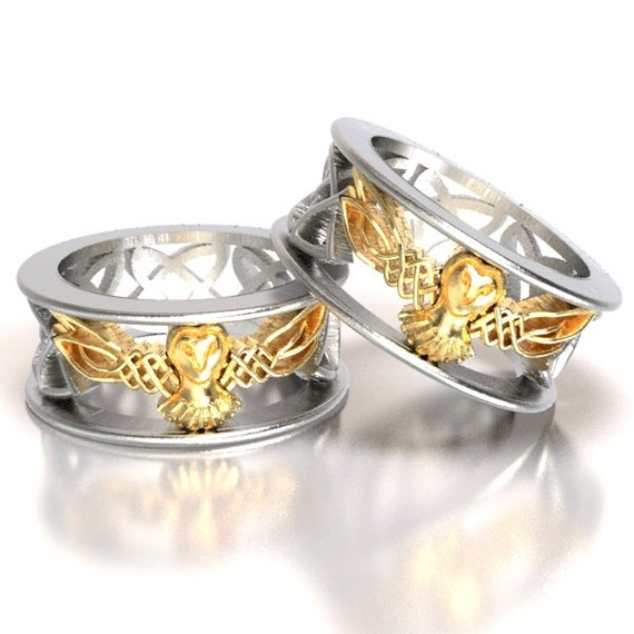 Celtic Wedding Ring Set His And Her Gold Owl Rings Silver