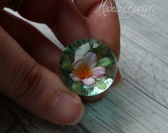 Fleur de cerisier éternelle marbre, cadeau insolite, art du verre à collectionner, sphère, lampwork, fleur, implosion, marbre fleur, sakura