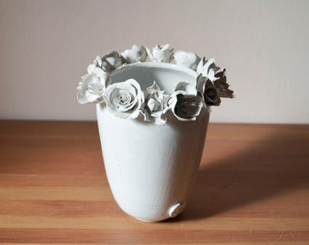 Tall stoneware vase in white with three kind of flowers-  Handmade Ceramics  - Stoneware -