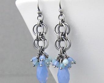 Air Blue Earrings Blue Crystal Earrings Blue Cluster Earrings Long Silver Earrings Sterling Silver Jewelry Crystal Jewelry - Teardrop