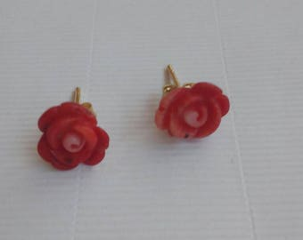 Rose earrings in red Mediterranean coral