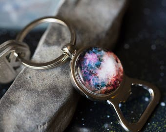 Galaxy Bottle Opener Keychain - Choose Your Space Image Key Chain - Universe, Cosmos, Planets, Moon, Sun, Milky Way, Stars, Nebulae