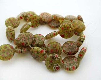 Gold with Red Disc Millefiori Beads - CG248