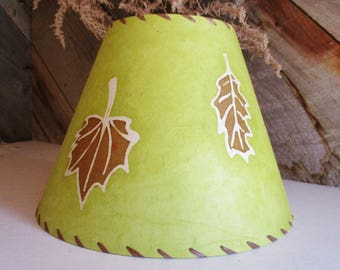 Batik Lamp Shade, Green and Brown Leaf Lokta Paper, Rustic Nature Decor Lighting, Washer Top Lamp Shade, Avocado Green Botanical Lampshade