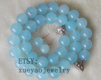 Jade Set- jade necklace, jade earrings, light blue jade necklace & earrings set