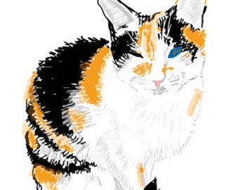 Cat Greeting Card, Blank, Lily Sitting Pretty Design No A6008