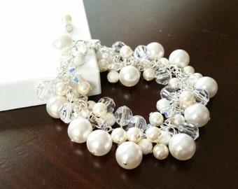 Swarovski White Pearl & Crystal Cluster Bracelet