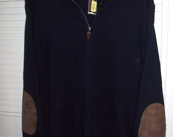 Sweater XL, Vintage Polo Ralph Lauren Men's Zippered Sweater, Navy Ribbed Knitted Elbow Leather Suede  Patches