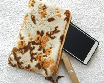 Upholstery pouch, gold brown purse, zipper pouch, lined clutch, fashion accessory, womens accessory, different sizes available