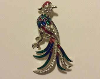 x Vintage Silvertone Jeweled Parrot Bird Perching Pin (#2)