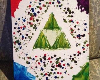 Zelda Crayon Melt Art (Triforce)