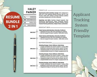 Modern ATS- friendly Resume Templates  | Resume Template Instant Download | CV Templates cv-malli  | 1-2 Page Modern Resume  Cover Letter