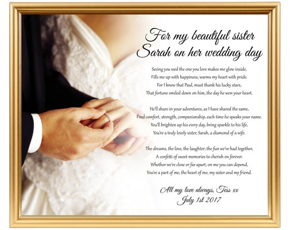 Wedding Gifts For Sister In Law: Gifts For Sister Sister Wedding Gift Wedding Gift Poem For