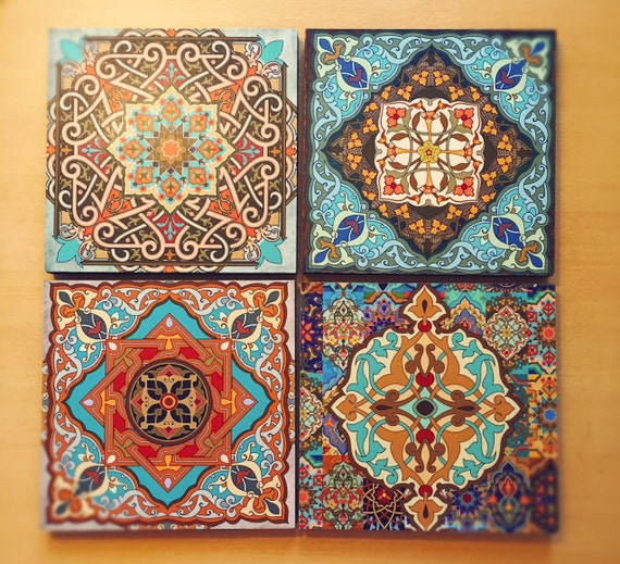 Great Moroccan Wall Art Set Hamsa Block Set Of 4 Hamsa Wall Art