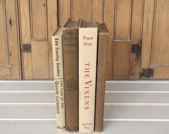 Vintage Book Decor, (L), Beige, Taupe, Brown, 4 Decorative Books, Book Set, Old Books, Cottage Style, Home Decor
