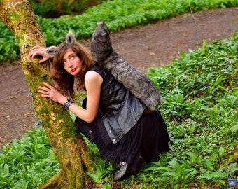 Grey Squirrel, Girl Costume,  Ears headband, tail set, Luxury Faux Fur, squirrel Cosplay, Tippy Toe, Monkey Joe, adult costume, kids costume