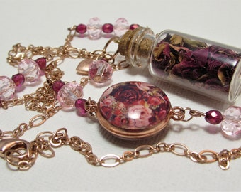 Real Rose Petal Necklace - Extra Long Necklace - Cabochon Necklace - Glass Bottle Necklace - Real Rose Jewelry - Mother's Day Gift